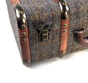 Harris Tweed Covered Suitcase by The British Bag Company - Brown Trim Thumbnail 2