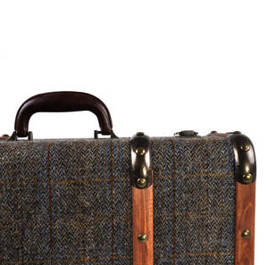 Harris Tweed Covered Suitcase by The British Bag Company - Brown Trim Thumbnail 6