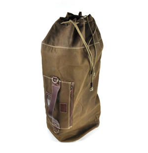 Sea Sack - Full Size Cylinder Kit Bag - Heavy Green Khaki Canvas & Leather Thumbnail 1