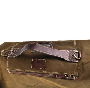 Sea Sack - Full Size Cylinder Kit Bag - Heavy Green Khaki Canvas & Leather Thumbnail 2