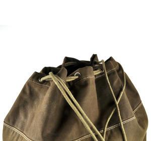 Sea Sack - Full Size Cylinder Kit Bag - Heavy Green Khaki Canvas & Leather Thumbnail 3