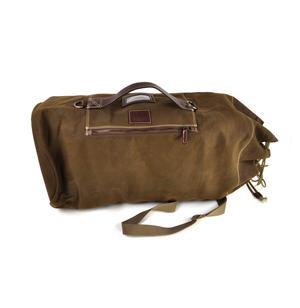 Sea Sack - Full Size Cylinder Kit Bag - Heavy Green Khaki Canvas & Leather Thumbnail 4