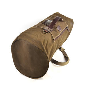 Sea Sack - Full Size Cylinder Kit Bag - Heavy Green Khaki Canvas & Leather Thumbnail 5