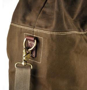 Sea Sack - Full Size Cylinder Kit Bag - Heavy Green Khaki Canvas & Leather Thumbnail 7