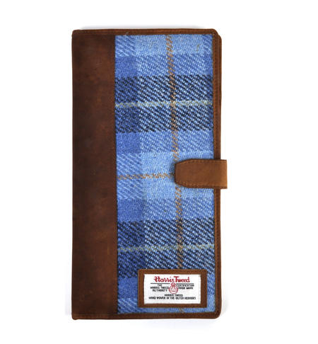 Blue Castle Bay Harris Tweed Travel Documents Wallet by The British Bag Company