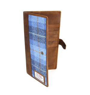 Blue Castle Bay Harris Tweed Travel Documents Wallet by The British Bag Company Thumbnail 4