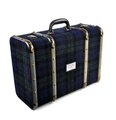 Harris Tweed Covered Suitcase by The British Bag Company - Brown Trim