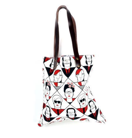 Kahlo Warhol Dali Picasso / Lichtenstein Mondrian De Chirico  - Great Modern Artists Red and Black Canvas Tote Bag with Leather Handle
