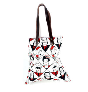 Kahlo Warhol Dali Picasso / Lichtenstein Mondrian De Chirico  - Great Modern Artists Red and Black Canvas Tote Bag with Leather Handle Thumbnail 1