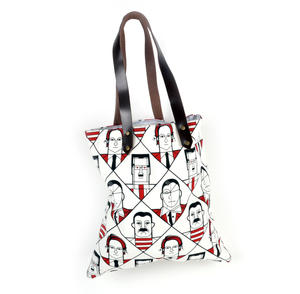 Kahlo Warhol Dali Picasso / Lichtenstein Mondrian De Chirico  - Great Modern Artists Red and Black Canvas Tote Bag with Leather Handle Thumbnail 2