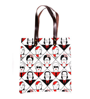 Kahlo Warhol Dali Picasso / Lichtenstein Mondrian De Chirico  - Great Modern Artists Red and Black Canvas Tote Bag with Leather Handle Thumbnail 3