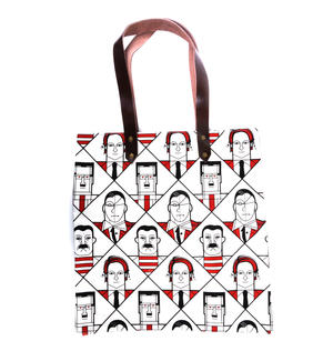 Kahlo Warhol Dali Picasso / Lichtenstein Mondrian De Chirico  - Great Modern Artists Red and Black Canvas Tote Bag with Leather Handle Thumbnail 4