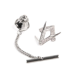Masonic Silver Lapel Pin / Tie Pin /  Tie Tac with Chain