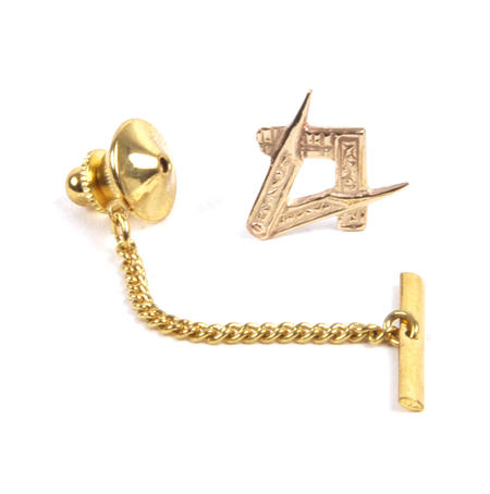 Solid Gold Masonic Lapel Pin / Tie Pin /  Tie Tac with Chain