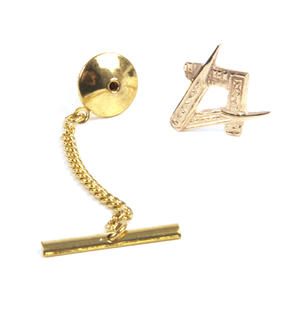 Solid Gold Masonic Lapel Pin / Tie Pin /  Tie Tac with Chain Thumbnail 3