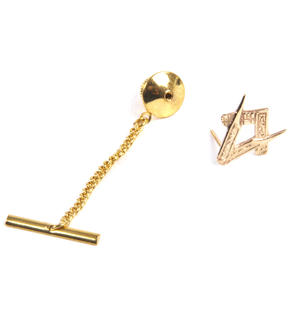 Solid Gold Masonic Lapel Pin / Tie Pin /  Tie Tac with Chain Thumbnail 5