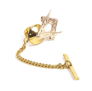 Solid Gold Masonic Lapel Pin / Tie Pin /  Tie Tac with Chain Thumbnail 6