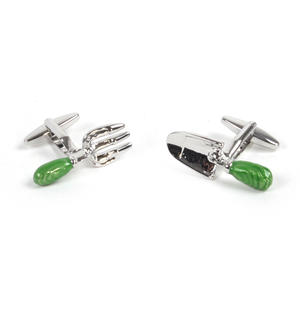 Rhodium Cufflinks - Garden Fork and Trowel - Gardener Thumbnail 1