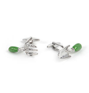 Rhodium Cufflinks - Garden Fork and Trowel - Gardener Thumbnail 2