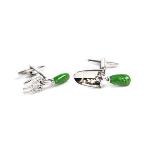 Rhodium Cufflinks - Garden Fork and Trowel - Gardener Thumbnail 4