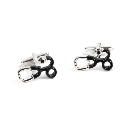 Rhodium Cufflinks - Stethoscope - Doctor / G.P.