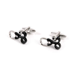 Rhodium Cufflinks - Stethoscope - Doctor / G.P. Thumbnail 2