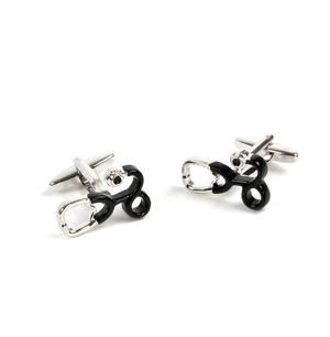 Rhodium Cufflinks - Stethoscope - Doctor / G.P. Thumbnail 3