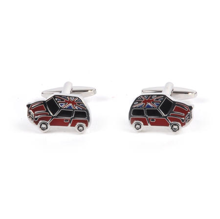 Rhodium Cufflinks - Union Jack Mini Cooper
