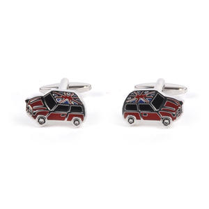 Rhodium Cufflinks - Union Jack Mini Cooper Thumbnail 1