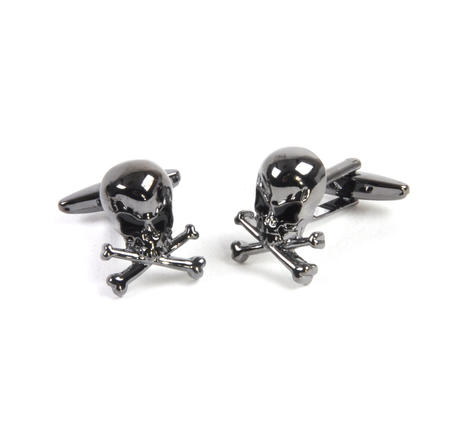 Gun Metal Cufflinks - Skull and Crossbones