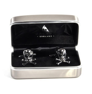 Gun Metal Cufflinks - Skull and Crossbones Thumbnail 2