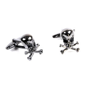 Gun Metal Cufflinks - Skull and Crossbones Thumbnail 3
