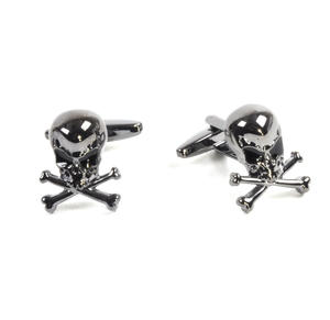 Gun Metal Cufflinks - Skull and Crossbones Thumbnail 4