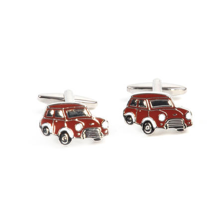 Rhodium Cufflinks - Red Mini Cooper Classic