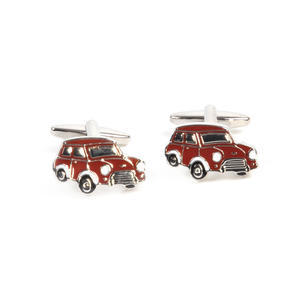 Rhodium Cufflinks - Red Mini Cooper Classic Thumbnail 1