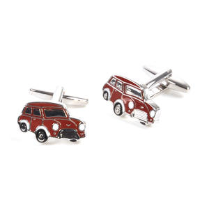 Rhodium Cufflinks - Red Mini Cooper Classic Thumbnail 2
