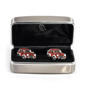 Rhodium Cufflinks - Red Mini Cooper Classic Thumbnail 3