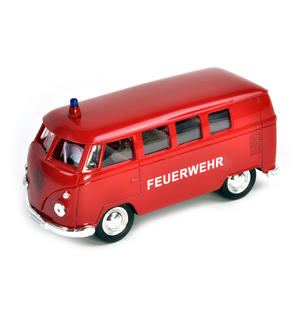 Volkswagen Camper - Red Feuerwehr German Model Fire Brigade Vehicle Thumbnail 4