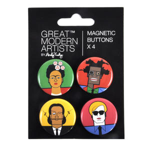 Kahlo Warhol Dali Basquiat - Great Modern Artists Magnetic Buttons Thumbnail 1