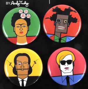 Kahlo Warhol Dali Basquiat - Great Modern Artists Magnetic Buttons Thumbnail 2