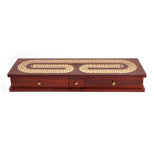 Luxury 3 Track Redwood Border Wooden Cribbage Board with Drawers, 2 Decks and Metal Pegs Thumbnail 1
