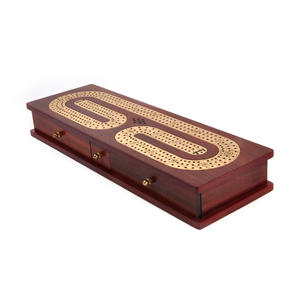 Luxury 3 Track Redwood Border Wooden Cribbage Board with Drawers, 2 Decks and Metal Pegs Thumbnail 2
