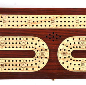 Luxury 3 Track Redwood Border Wooden Cribbage Board with Drawers, 2 Decks and Metal Pegs Thumbnail 4