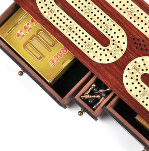 Luxury 3 Track Redwood Border Wooden Cribbage Board with Drawers, 2 Decks and Metal Pegs Thumbnail 5