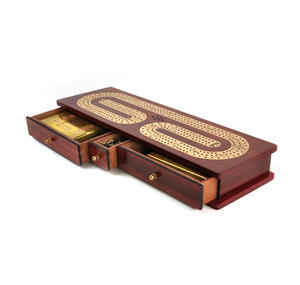 Luxury 3 Track Redwood Border Wooden Cribbage Board with Drawers, 2 Decks and Metal Pegs Thumbnail 7