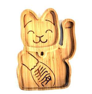 Lucky Cat Bamboo Serving Tray Thumbnail 1