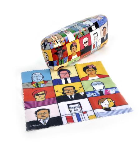 Great Modern Artists Glasses Case - Basquiat  / Kahlo /  Warhol / Mondrian / Lichtenstein / O Keefe / Picasso / Dali / Matisse with Lens Cloth