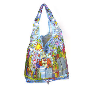 James Rizzi New York City - Bag in a Bag - Foldaway Zipper Shopper Bag