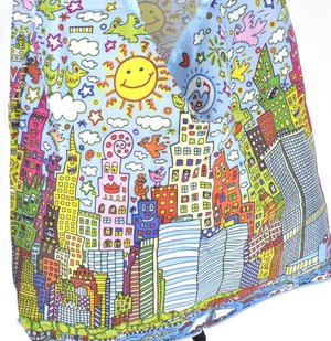 James Rizzi New York City - Bag in a Bag - Foldaway Zipper Shopper Bag Thumbnail 2