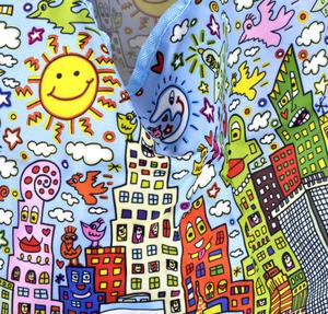 James Rizzi New York City - Bag in a Bag - Foldaway Zipper Shopper Bag Thumbnail 4